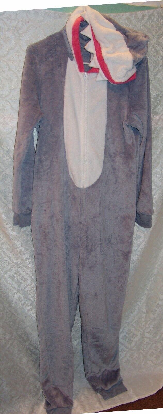 Secret Treasures L 12 - 14 Plush Shark Costume One Piece Pajamas PJ Soft Zip