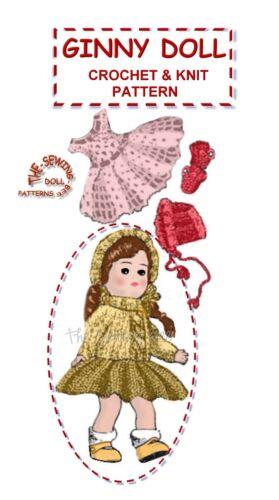 "Ginny Crochet /& knit Doll clothes 8/""  Pattern vintage"
