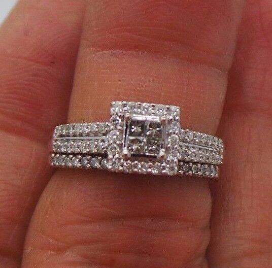 STUNNING 10K WG DIAMOND CLUSTER BRIDAL SET .75 tcw SZ 6  B57756  4.02 grams