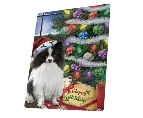 Christmas Happy Holiday Pomeranians Dog Presents Woven Throw Sherpa Blanket T450