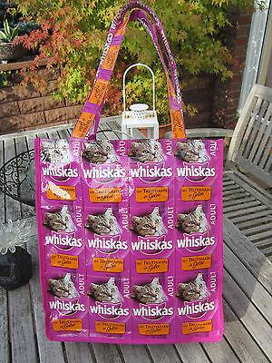 Tasche Shopper aus Whiskastüten Handarbeit Recycling Upcycling neuwertig Katze
