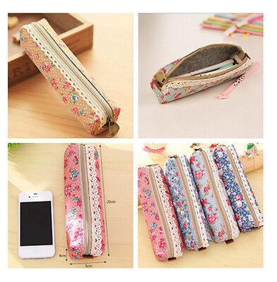 Vogue Flower Floral Lace Pencil Pen Case Cosmetic Makeup Bag Zipper Pouch New