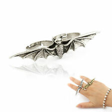 Silver Bat Double Adjustable Ring - Halloween Costume - Ideal Gothic Gift