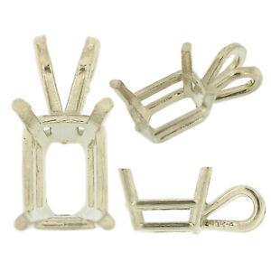 14K-White-Gold-Emerald-Pendant-Setting-Rabbit-Ear-Bail-Mounting-0-20ct-33-00ct