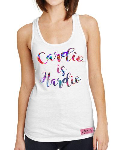 Cardio Is Hardio WHITE Womens Gym Vest Fitness Brand Apparel Uforia Workout U9