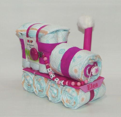Zug Windelzug Windellokomotive Lok Windeltorte Schnullerkette rosa