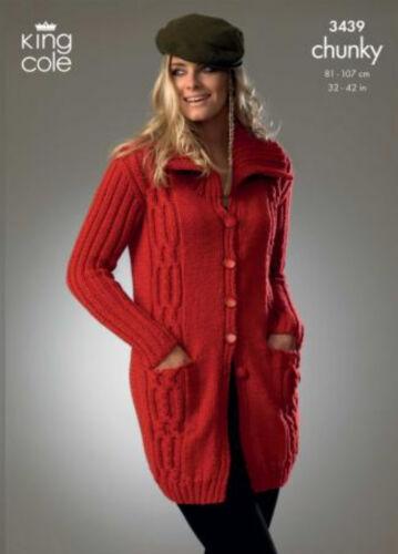 Long Jackets King Cole Chunky Knitting Pattern 3439