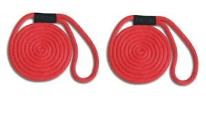 "3//8/"" x 25/' 2-PACK Floats // Fade Proof USA RED Solid Braid Nylon Dock Line"