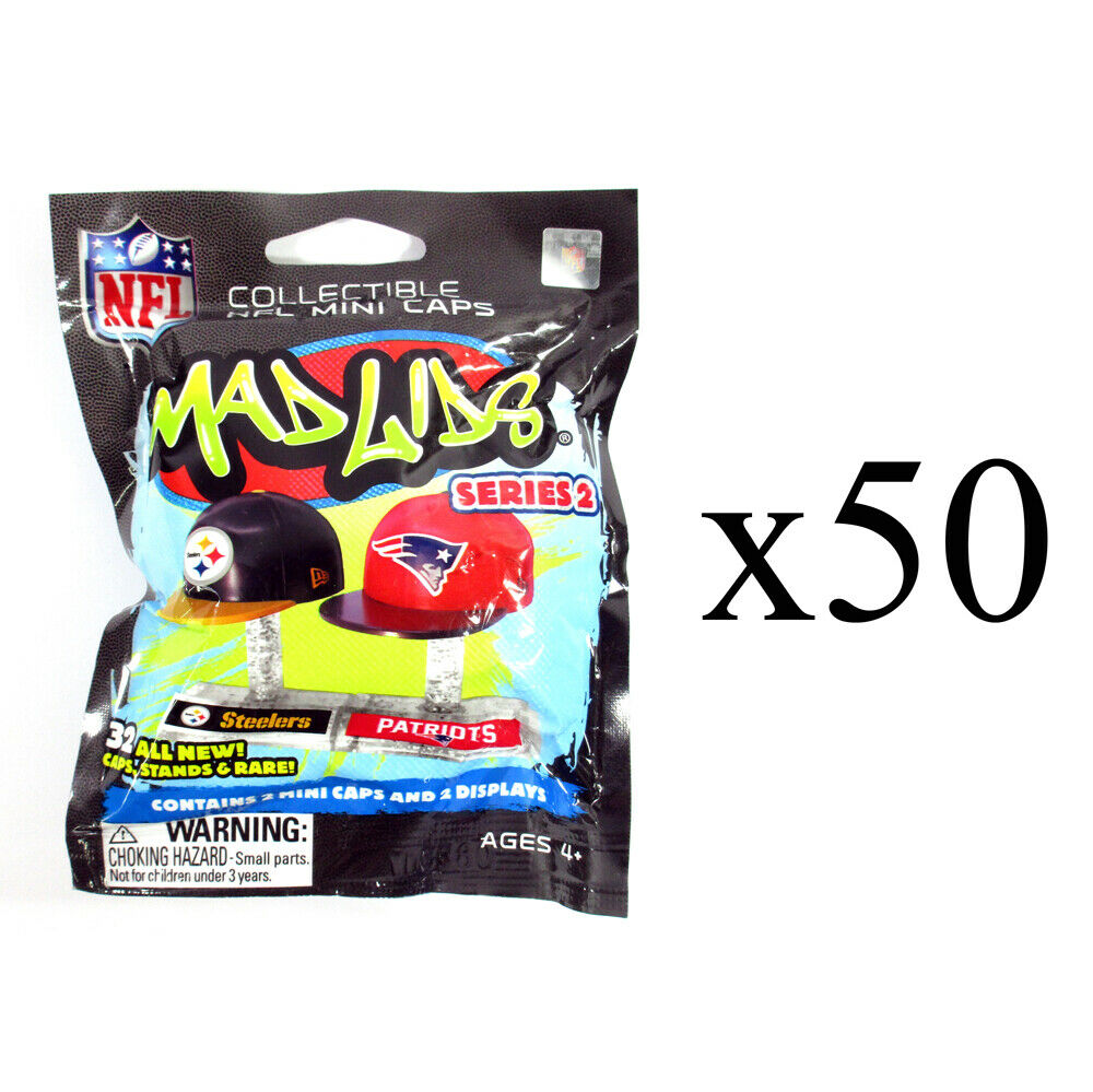 Lot of (50) Mad Lids NFL Football Series 2 Blind Pack Sealed
