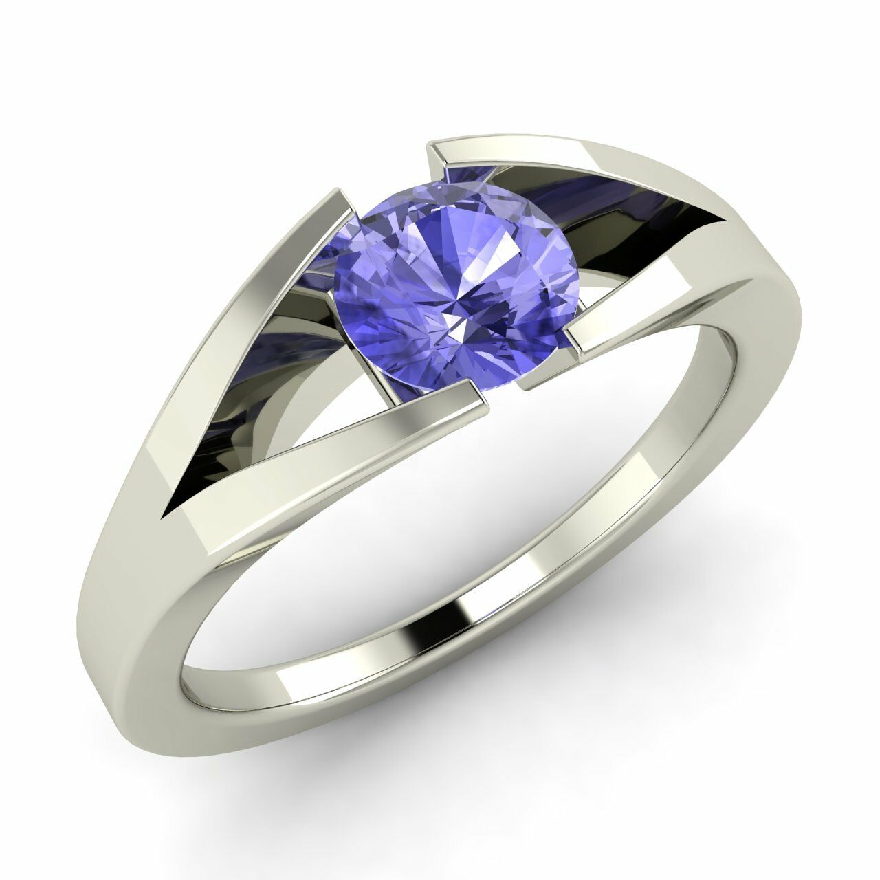 Certified 0.35 Cts Natural Tanzanite 14k White gold Solitaire Engagement Ring