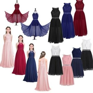 Flower-Girl-Princess-Pageant-Wedding-Party-Formal-Gown-Kids-Lace-Chiffon-Dress