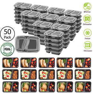 50-Meal-Prep-Containers-Food-Storage-2-Compartment-Reusable-Microwavable-Plastic