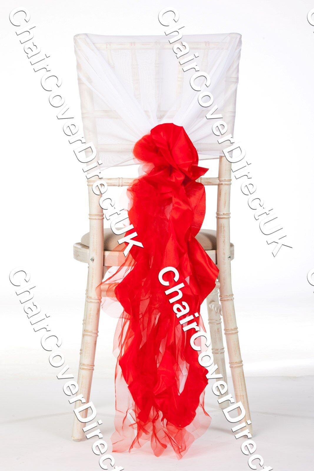 100 Rouge Organza Et De Taffetas Mix chaise Couverture Sash Volants Accessoire