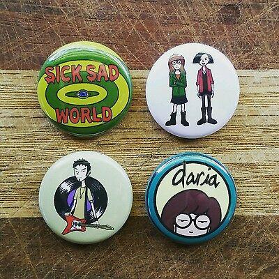 "4 1"" Daria Sick Sad World Jane Trent pinback badges buttons"