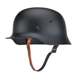 New Black Motorcycle Retro WWII German Elite WH Army M35 M1935 Stahlhelm Helmet