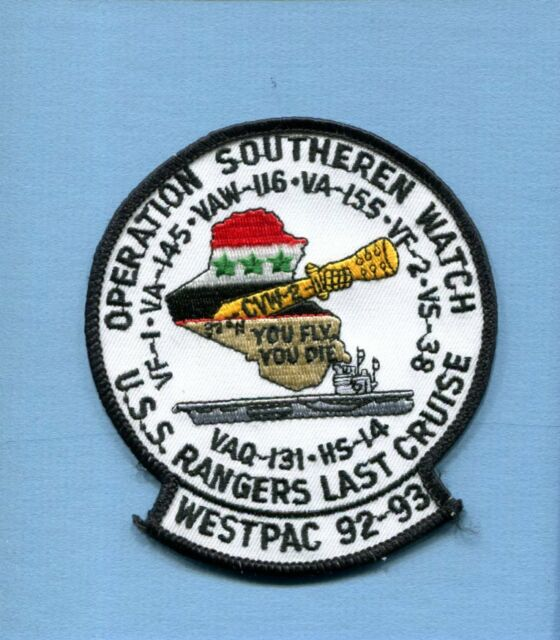 CV-61 USS RANGER WESTPAC 92  LAST CRUISE OSW US Navy Ship Squadron Cruise Patch