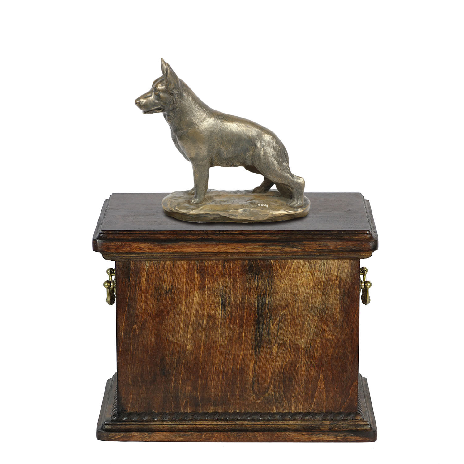 Solid Wood Casket German Shepher  Memorial Urn for Dog's ashes with Dog statue.