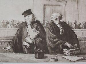 Gravure Après L'audience Par H. Daumier, Héliog J. Chauvet Imp. Chaix Paris De Haute Qualité Et Peu CoûTeux