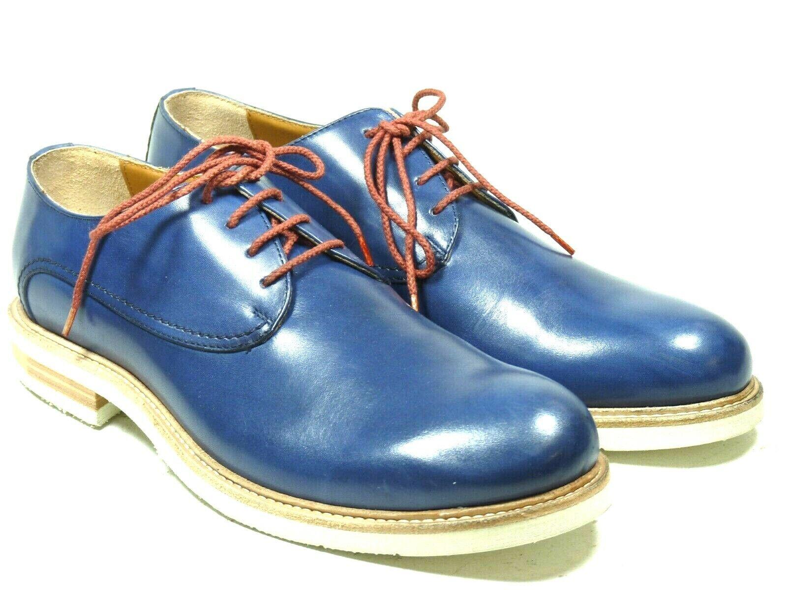 Hamlet Echtleder Herrenschuhe Plain Derby 227 Vitello Blau Blau Blau EUR 42 a7504a