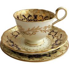 Exquisite Davenport Cina tè Trio, dipinta a mano c.1815-40, exc cond
