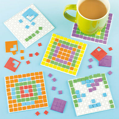 Mosaic Foam Coaster Kits for Children's Craft Activities (Pack of 6)