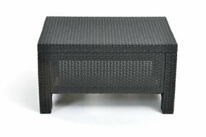 keter corfu outdoor side table plastic patio furniture coffee table black ebay. Black Bedroom Furniture Sets. Home Design Ideas
