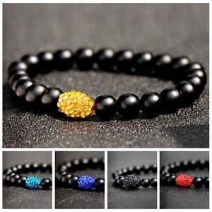 Men-039-s-Women-8mm-Matte-Black-Onyx-Gemstone-Balls-Stone-Bead-Charm-Bracelets-Gifts