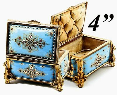 Antique Tahan French Kiln-fired Enamel Jewelry Casket Box Paris Industrious Celeste Blue