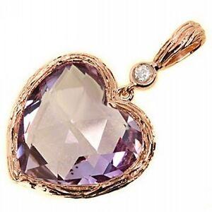 Unique-Lavender-Pink-Heart-Amethyst-amp-Diamond-Pendant-Necklace-14k-Rose-Gold