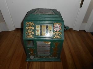 Vintage-1930s-Buckley-CENT-A-PACK-Coin-Op-GUM-BALL-Trade-Simulator-Slot-Machine