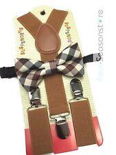Vintage Brown toddler bow tie and suspenders set - baby boy/girl Accesorries
