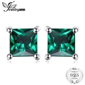 Square-0-6ct-Created-Emerald-925-Sterling-Silver-Stud-Earrings-Fashion-Jewelry