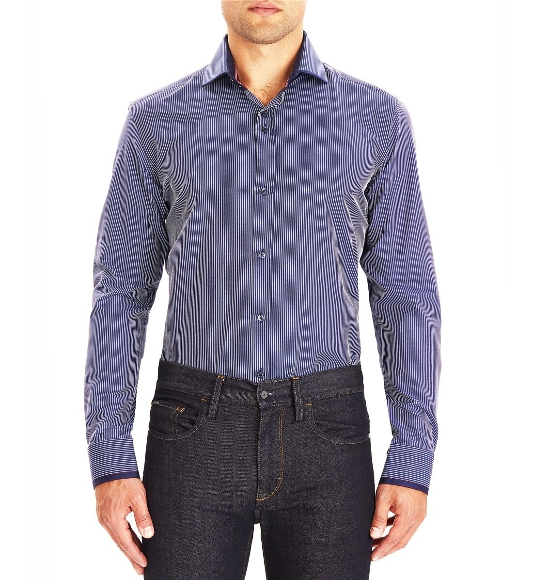Guide London Smart Shirt Navy Blau Weiß Fine Stripe LS74069 Slim Fit Sale