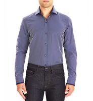 Guide London Smart Shirt Navy Blue White Fine Stripe Ls74069 Slim Fit Sale
