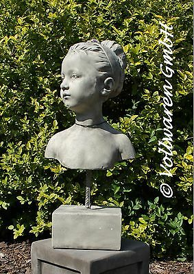 BÜSTE Mädchen KATHARINA  Antik Steinguss Skulptur Figur Stele Gartendekoration
