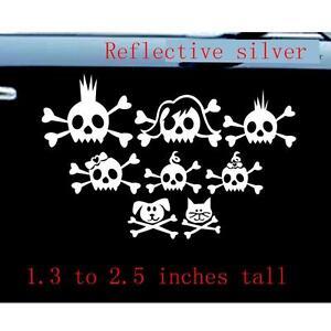 Skull Family Car Decal Sticker Skulls Reflective Silver - Family car sticker decalsfamily car decals ebay