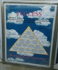 Details About John Wooden Autographed Framed Pyramid Of Success Poster