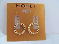 Monet Gold Braided Ring Dangle Earrings, Stunning Shiny