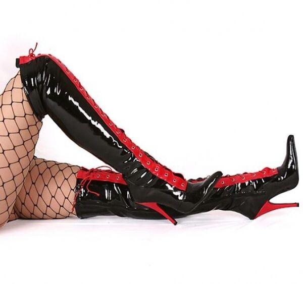 Overkneestivali Nuovo Stivali Da Donna Stivali Vernice Nero Scarpe cosce altamente GoGo Hot