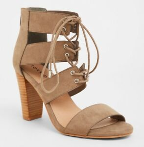 f6eb0e3bc2680c Image is loading Torrid-Taupe-Cage-Heel-Sandal-Size-9W-57