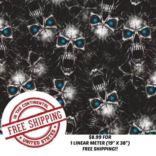 "19/""X 38/"" HYDROGRAPHIC WATER TRANSFER HYDRO DIP FILM BLUE EYE VAMPIRE SKULL 1M"