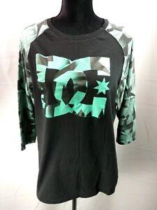 DC-Shoes-Black-3-4-Sleeve-Baseball-Style-T-Shirt-Women-039-s-XL-100-Cotton-Skate