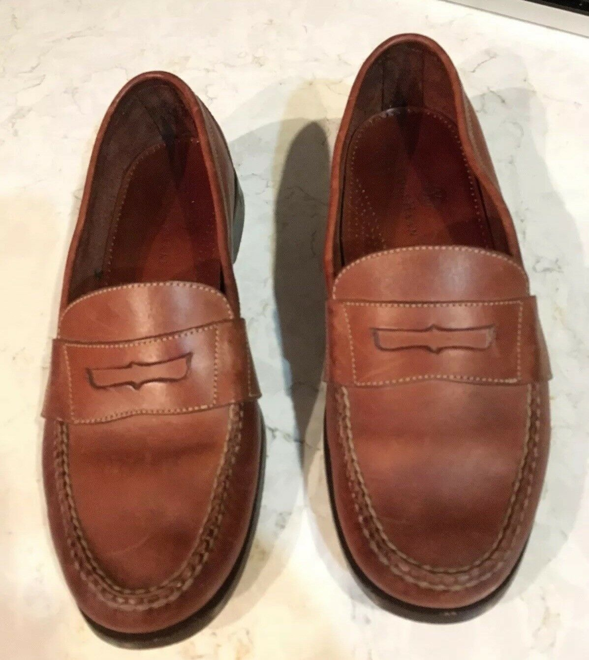 COLE HAAN Men Slip On Moc-Toe Penny Loafers Size 11 D Brown Leather