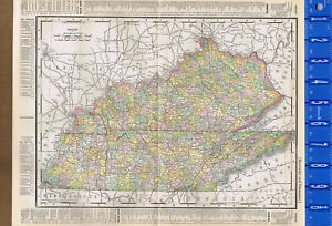 Kentucky & Tennessee, United States - 1895 Color State Map | eBay