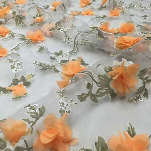 "1 Yard 3D Chiffon Pink Rose Floral Ivory Organza Lace Fabric 51/"" Width"