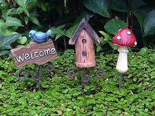 Miniature FAIRY GARDEN ~ Set Of 3 Mini Picks WELCOME Birdhouse MUSHROOM