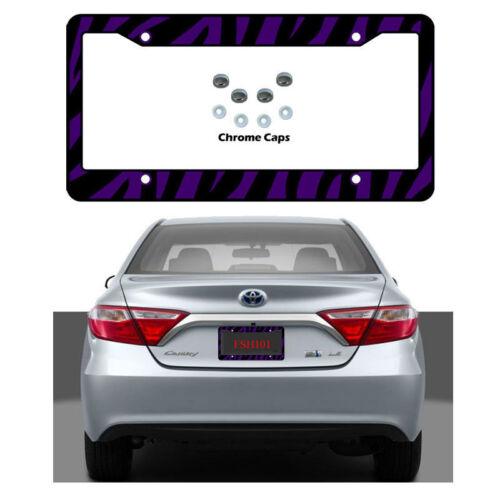 New Purple Zebra Print Car Truck License Plate Frame /& Chrome Screw Caps Set