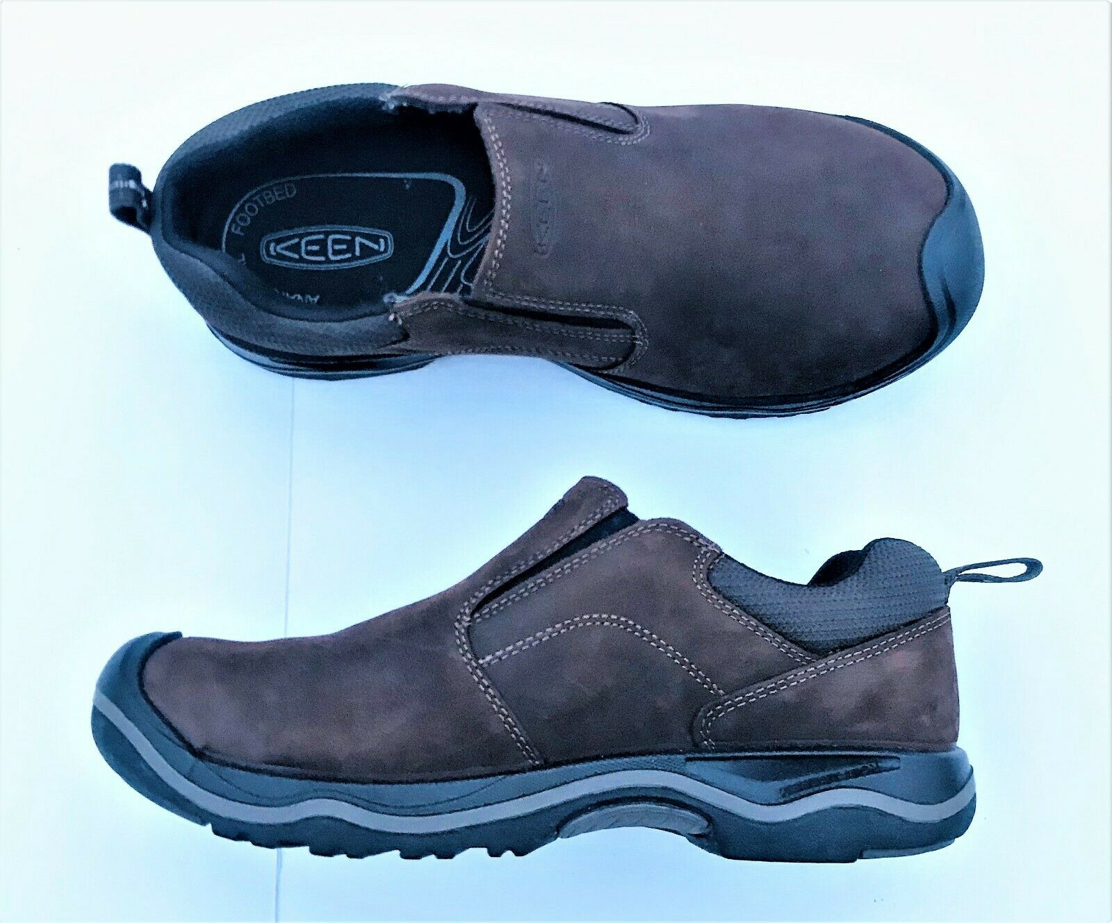 Keen Rialto Slip On Water Resistant Leather shoes 1017427 Earth Men's Sz 7