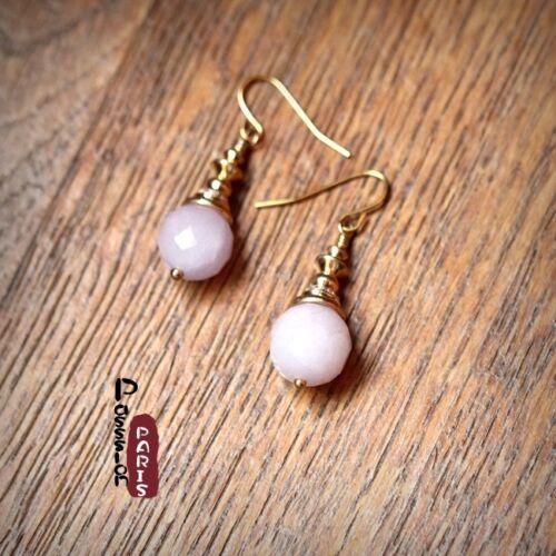 Boucles d/'Oreilles Perle Quartz Rose  Classique Rétro Soirée Mariage Cadeau BB1