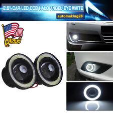 2pcs Car Angel Eye White Halo Ring LED DRL Projector Lens Fog Driving Light Lamp